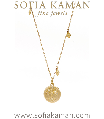 14K Gold and Diamond Tree of Life Necklace Perfect for One of a Kind Engagement Ring designed by Sofia Kaman handmade in Los Angeles