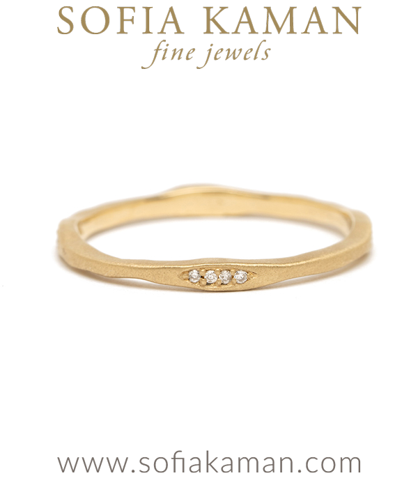 Diamond Organic Boho Stacking Ring Natural Bohemian Wedding Band designed by Sofia Kaman handmade in Los Angeles using our SKFJ ethical jewelry process.