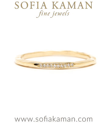 Gold and Diamond Skinny Stacking Ring for Engagement Rings designed by Sofia Kaman handmade in Los Angeles