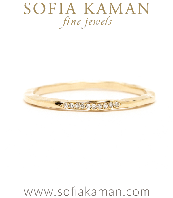 Gold and Diamond Skinny Stacking Ring for Engagement Rings designed by Sofia Kaman handmade in Los Angeles using our SKFJ ethical jewelry process.