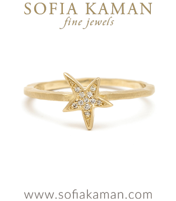 Organic Pave Diamond Star Boho Stacking Ring designed by Sofia Kaman handmade in Los Angeles