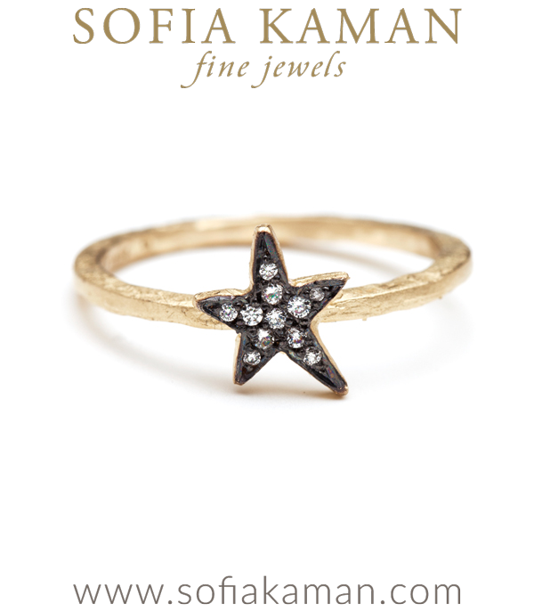 Gold Blackened Twinkling Star Pave Diamond Stacking Ring
