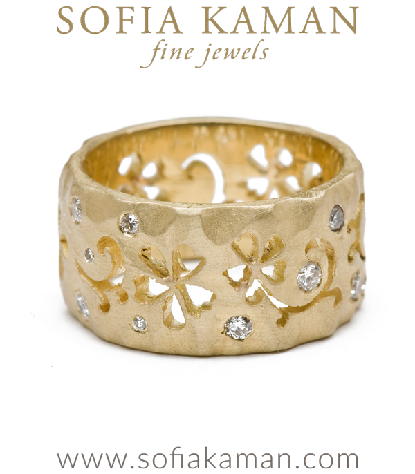 Matte Gold Diamond Accented Scrolling Flower 10mm Boho Wedding Band designed by Sofia Kaman handmade in Los Angeles