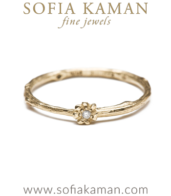 Organic Diamond Twig Daisy Boho Stacking Ring Natural Bohemian Wedding Band made in Los Angeles