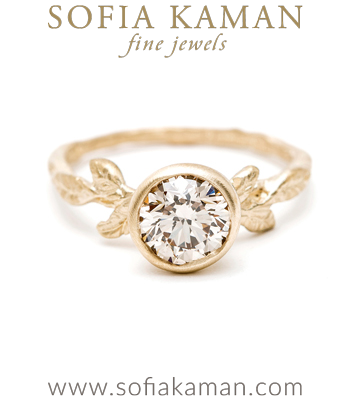 Bohemian Twig Champagne Diamond Handmade Engagement Ring made in Los Angeles