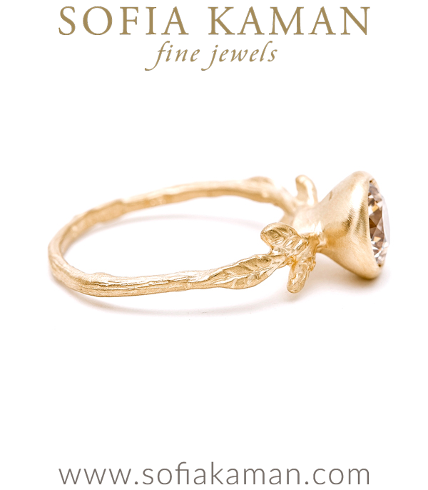Gold Champagne Diamond Twig And Daisies Solitaire Large