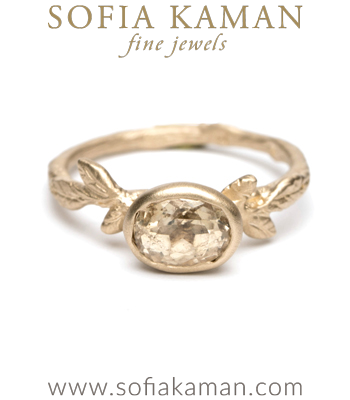 Yellow Sapphire Natural Organic Twig Bohemian Engagement Ring designed by Sofia Kaman handmade in Los Angeles