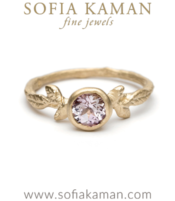 Matte Yellow Gold Pink Sapphire Twig Bang Nature Inspired Boho Engagement Ring designed by Sofia Kaman handmade in Los Angeles