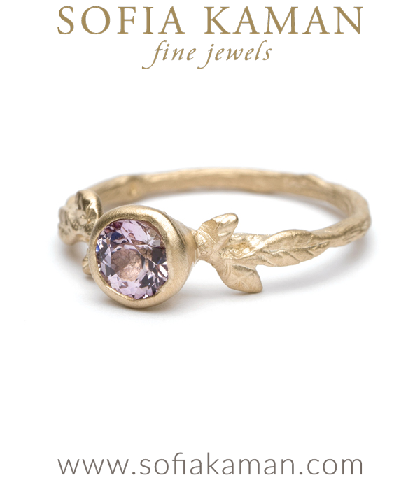 Pink Sapphire Nature Inspired Bohemian Engagement Ring