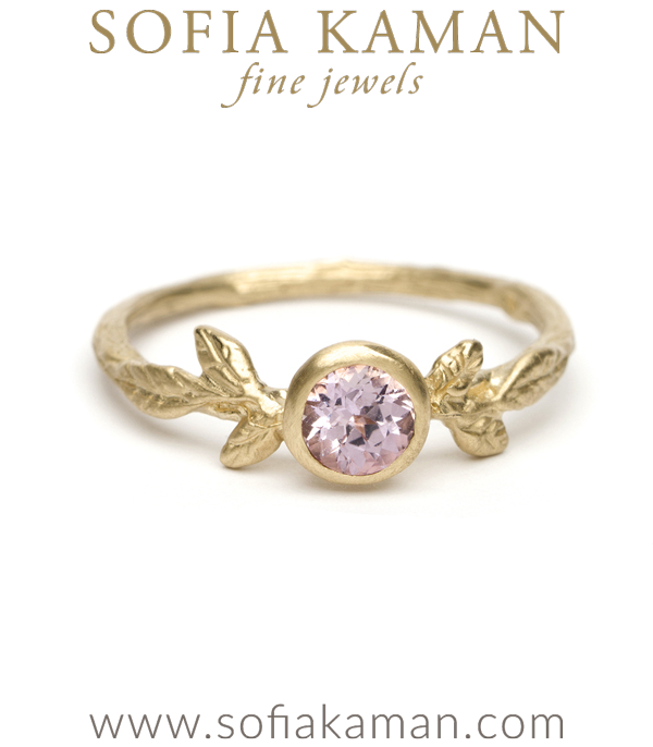 Gold Twig Textured Pink Sapphire Boho Engagement Ring designed by Sofia Kaman handmade in Los Angeles