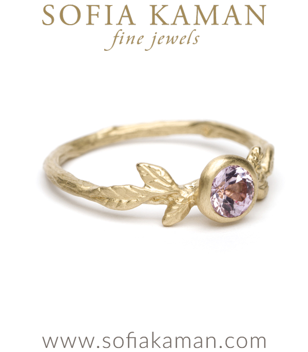 Gold Leaf Twig Textured Pink Sapphire Boho Engagement Ring