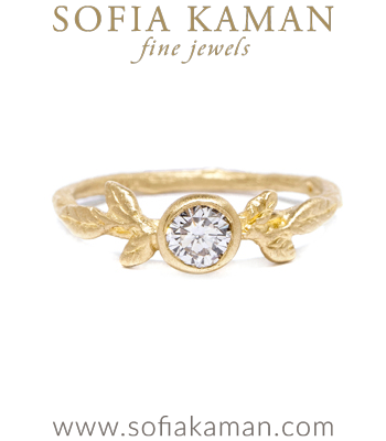 Diamond Solitaire Natural Organic Twig Leaf Bohemian Engagement Ring made in Los Angeles