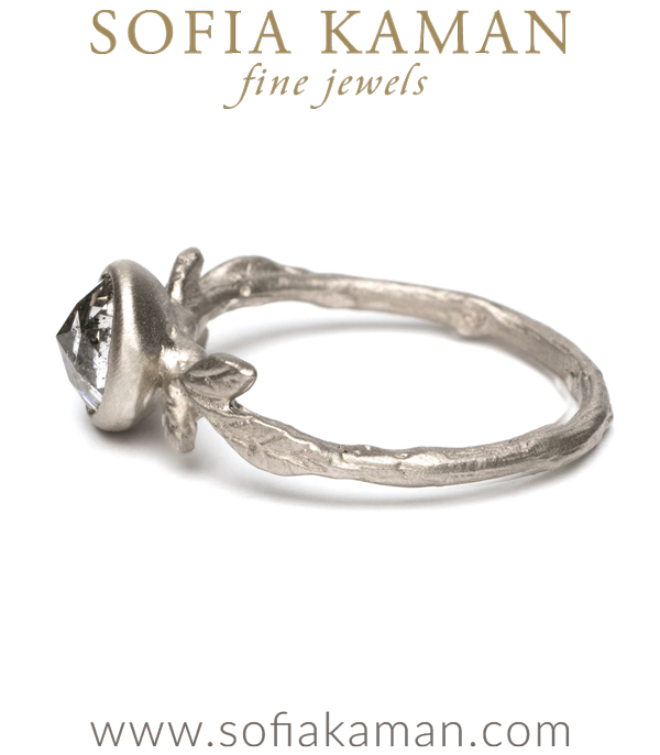 Rustic Diamond Solitaire Natural Organic Twig Leaf Bohemian Engagement Ring made in Los Angeles