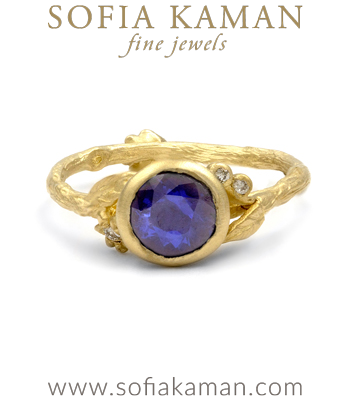 Matte Yellow Gold Twig Textured Band Diamond Accent Flower Blue Sapphire Boho Engagement Ring designed by Sofia Kaman handmade in Los Angeles