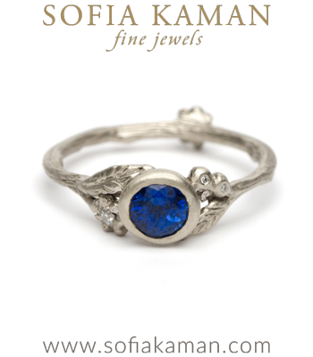 Matte White Gold Twig Textured Diamond Flower Pod Band Blue Sapphire Solitaire Boho Engagement Ring made in Los Angeles