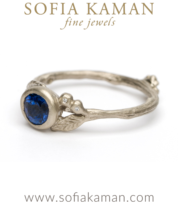 Matte White Gold Twig Textured Diamond Accent Blue Sapphire Boho Engagment Ring