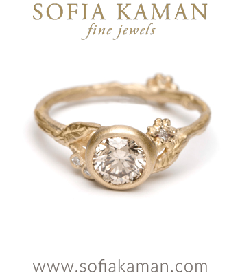 Gold Twig Champagne Diamond Bohemian Engagement Ring designed by Sofia Kaman handmade in Los Angeles