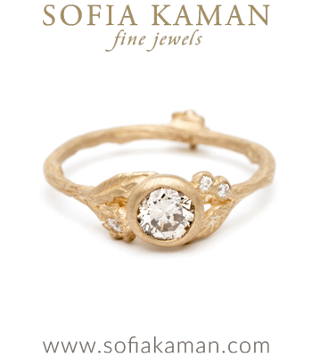 Gold Engagement Rings Bohemian Twig Champagne Diamond Engagement Ring designed by Sofia Kaman handmade in Los Angeles