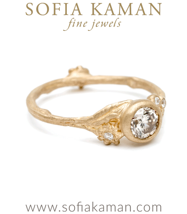 Gold Champagne Diamond Twig And Daisies Solitaire Small