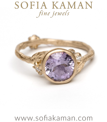 Purple Sapphire Natural Organic Twig Bohemian Engagement Ring made in Los Angeles