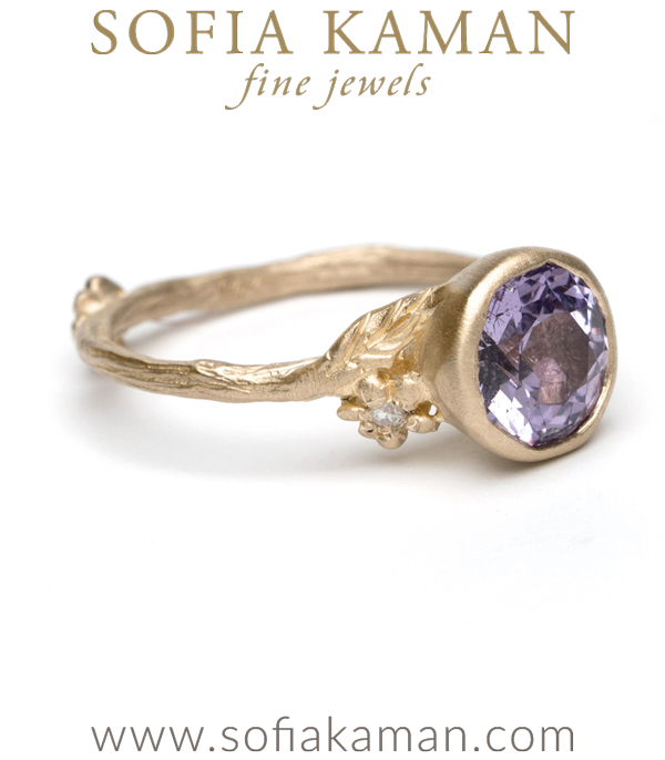 Twig And Daisies Solitaire With Purple Sapphire