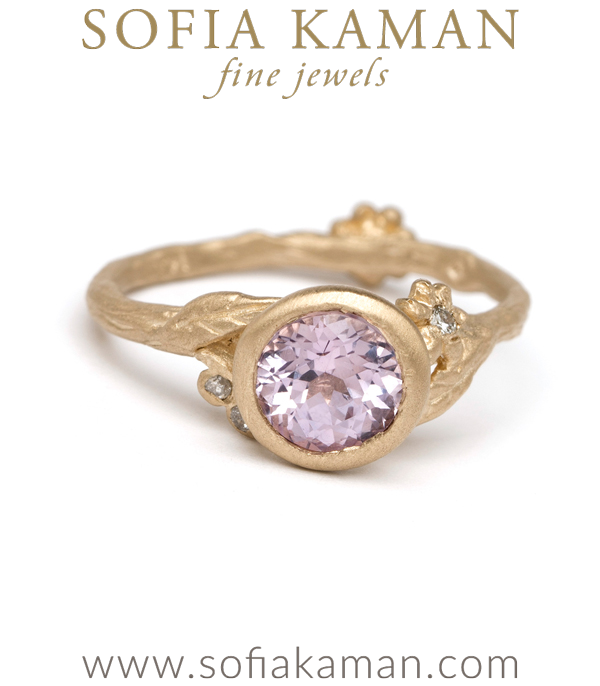 Lavender Sapphire Natural Organic Twig Bohemian Engagement Ring designed by Sofia Kaman handmade in Los Angeles