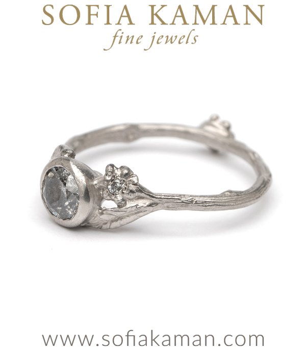 Platinum Salt Pepper Diamond Twig Daisy Bohemian Engagment Ring