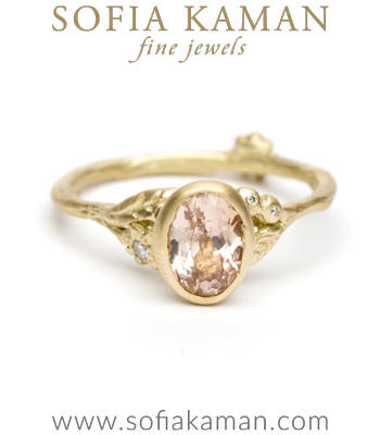 Yellow Gold Twig Textured Diamond Flower Band Peach Sapphire Boho Engagement Ring designed by Sofia Kaman handmade in Los Angeles