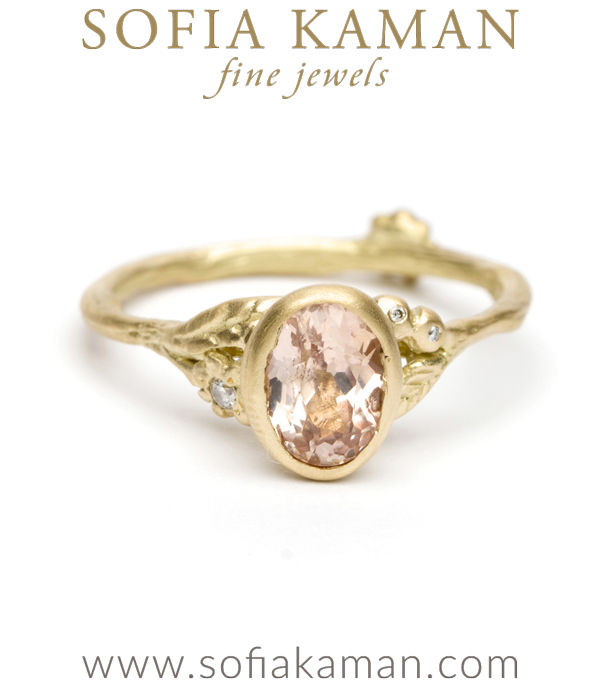 Yellow Gold Twig Textured Diamond Flower Band Peach Sapphire Boho Engagement Ring made in Los Angeles
