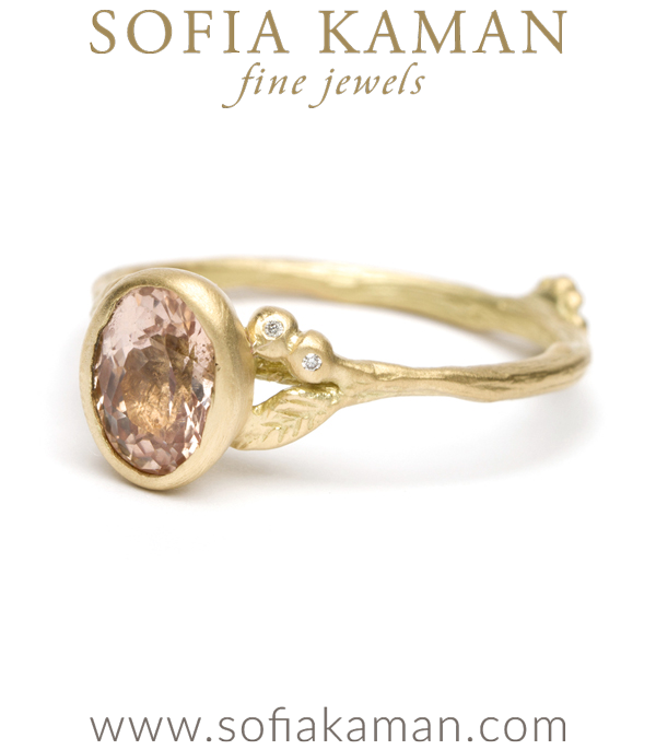 Gold Twig Textured Diamond Accent Peach Sapphire Boho Engagement Ring