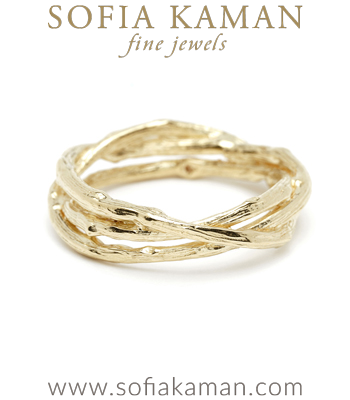 Natural Organic BranchTwig Bohemian Wedding Band designed by Sofia Kaman handmade in Los Angeles