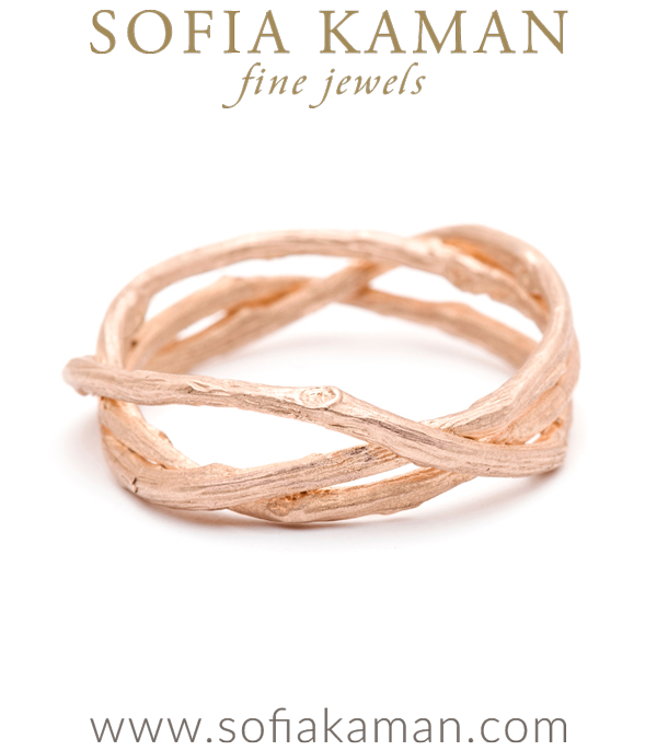 Rose Gold Woven Branches Mens Wedding Band