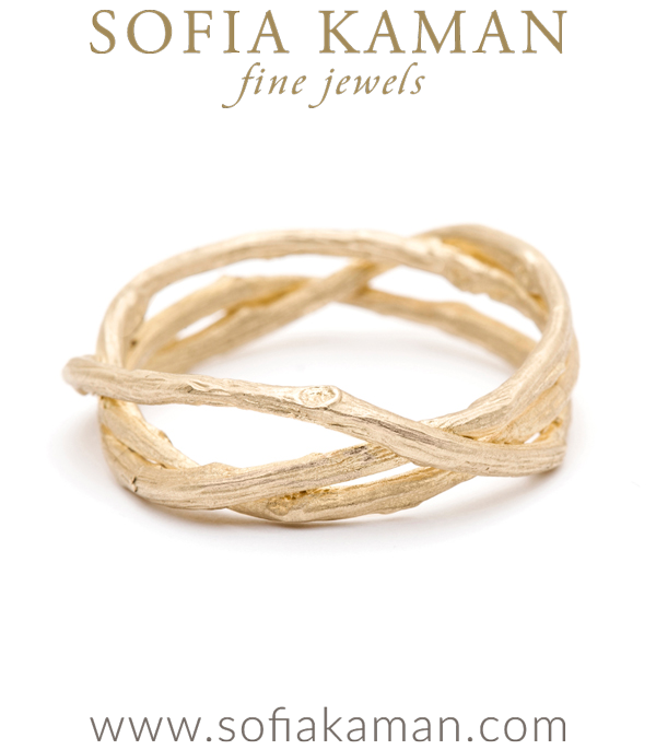 Yellow Gold Woven Branches Mens Wedding Band