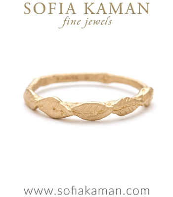 Gold Natural Organic Leaf Twig Bohemian Wedding Band designed by Sofia Kaman handmade in Los Angeles