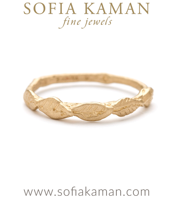 Gold Natural Organic Leaf Twig Bohemian Wedding Band designed by Sofia Kaman handmade in Los Angeles using our SKFJ ethical jewelry process.