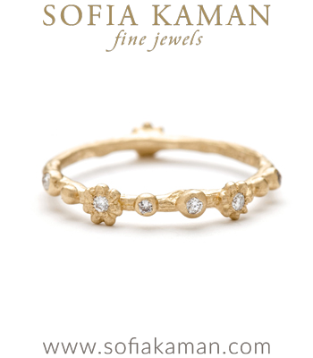 Natural Organic Twig Flower Diamond Bohemian Wedding Band designed by Sofia Kaman handmade in Los Angeles