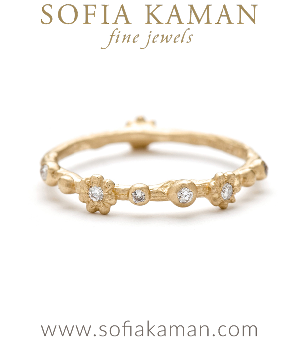 Natural Organic Twig Flower Diamond Bohemian Wedding Band designed by Sofia Kaman handmade in Los Angeles using our SKFJ ethical jewelry process.