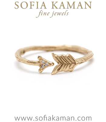 Twig Rings Whimsical  Gold Arrow Stacking Ring designed by Sofia Kaman handmade in Los Angeles
