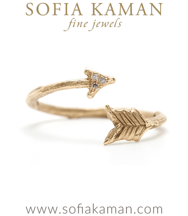14k Gold Diamond Accented Whimsical Twig Textured Adjustable Arrow Ring