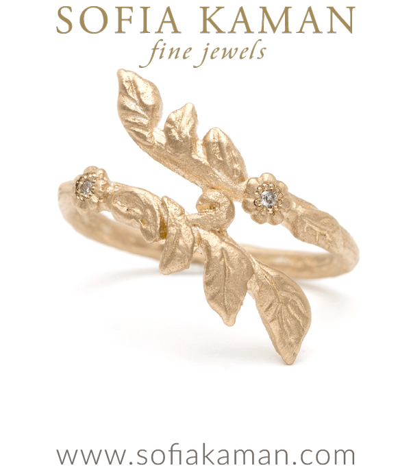 Gold Natural Organic Twig Diamond Bohemian Wedding Band designed by Sofia Kaman handmade in Los Angeles using our SKFJ ethical jewelry process.