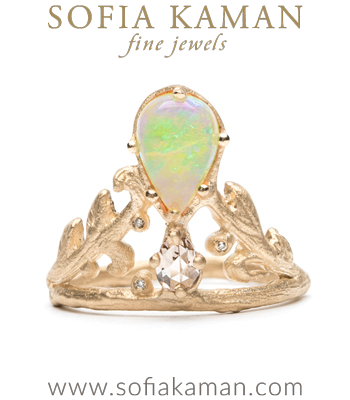 Pear Shape Opal Diamond Natural Organic Twig Leaf Bohemian Engagement Ring made in Los Angeles