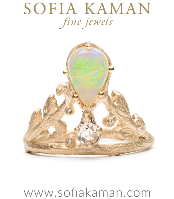 Pear Shape Opal Diamond Natural Organic Twig Leaf Bohemian Engagement Ring designed by Sofia Kaman handmade in Los Angeles using our SKFJ ethical jewelry process. This piece has been sold and is in the SK Archive.