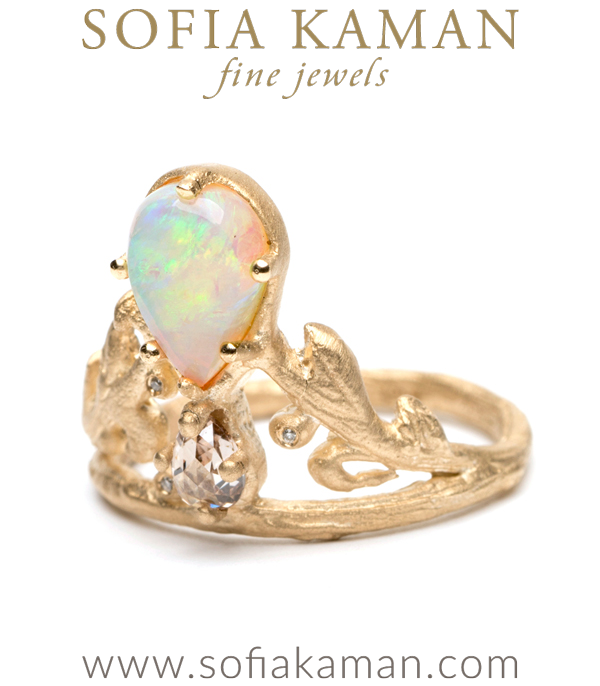 Rose Cut Diamond Pear Shape Opal Tiara Ring
