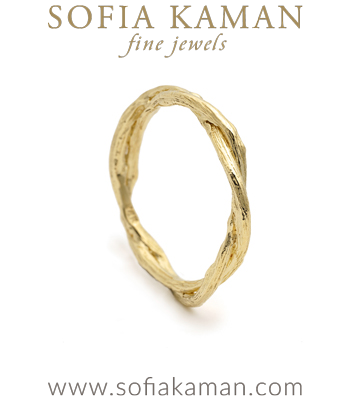 Organic Nature Inspired Large Double Branch Gender Neutral Wedding Band for Unique Engagement Rings designed by Sofia Kaman handmade in Los Angeles