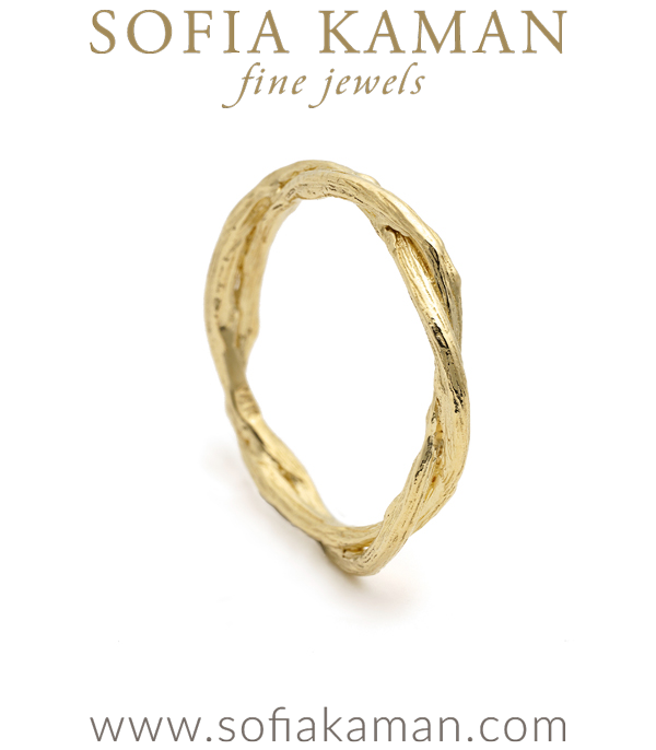 Organic Nature Inspired Large Double Branch Gender Neutral Wedding Band for Unique Engagement Rings designed by Sofia Kaman handmade in Los Angeles using our SKFJ ethical jewelry process.