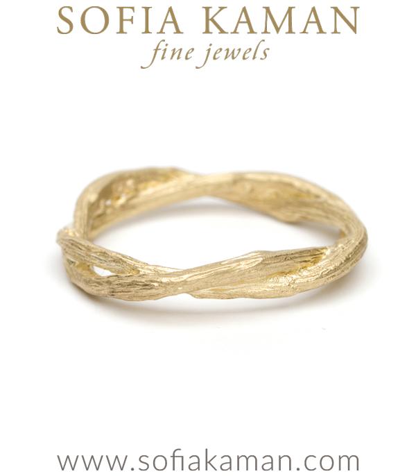 Gold Twig Branch Bohemian Wedding Band