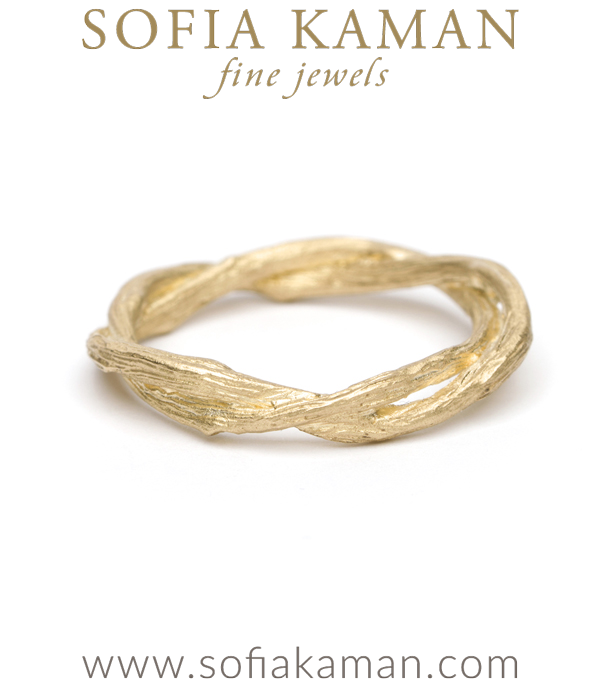 Gold Twig Branch Bohemian Wedding Band made in Los Angeles