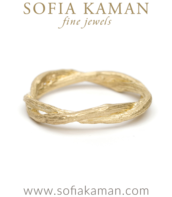 Gold Twig Branch Bohemian Wedding Band
