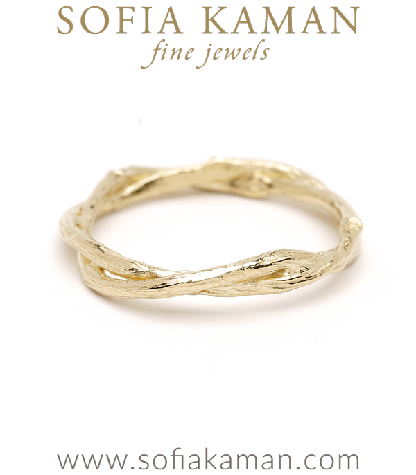 Gold Twig Branch Bohemian Wedding Band designed by Sofia Kaman handmade in Los Angeles using our SKFJ ethical jewelry process.