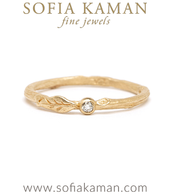 Gold Diamond Pod Leaf Twig Band Boho Stacking Band designed by Sofia Kaman handmade in Los Angeles